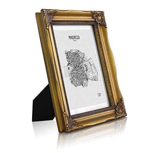 Rococo by Casa Chic Antik Bilderrahmen 13x18 cm - Glasfront - mit Passepartout für 10x15 Fotos - 3 cm Rahmenbreite - Rokoko Baroque Style - Antik Gold