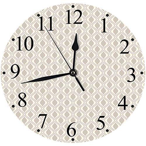 lautlosem Uhrwerk - 30 cm Rund Wanduhr,Retro, abstrakte Verzierung mit vertikalen gewellten Linien kurvige altmodische geometrische Fliese, Tau,für Wohn- /Schlaf-Kinderzimmer Büro Cafe Restaurant