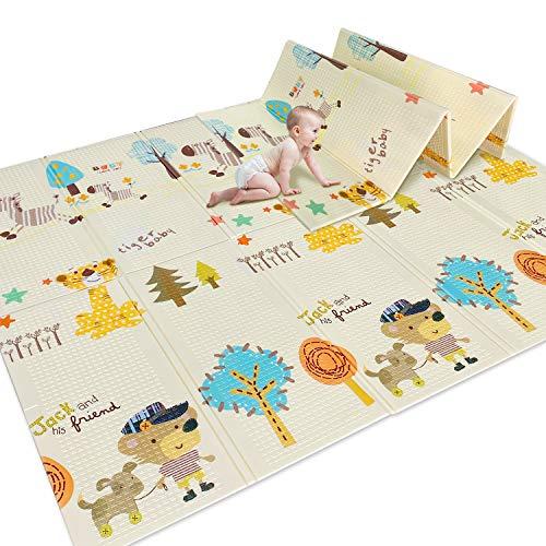"N.R Baby Crawling Mat Foldable, Baby Play Mat Waterproof Nontoxic, Anti-Slip Folding Kids Play Mat (77""×70"")"