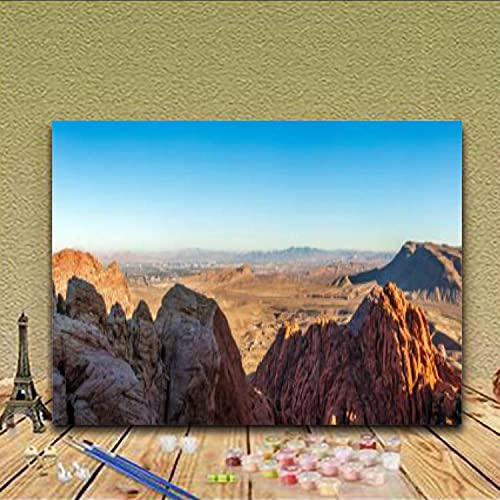 Paint by Numbers Kits Las Vegas Skyline Looking from Red Rock CanyonDIY Oil Painting for Beginner Canvas Painting Fine Art Art for Home Art Wall with Frame- 20X16 in
