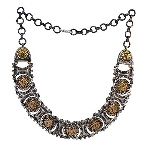 Aheli Vintage Boho Indian Oxidized Two Tone Floral Design Crafted Necklace Neckpiece Ethnic Wedding Fashion Statement Jewelry for Women Girls