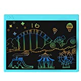 proffisy Colourful Screen LCD Writing Tablet 16 Inch USB Rechargeable Electronic Magnetic Doodle Scribble Board for Kids and Adults at Home (Blue)