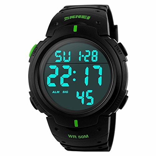 Skmei Mens Fashion Casual Sports Dive 50m Digital LED Military Electronics Wristwatches Gold