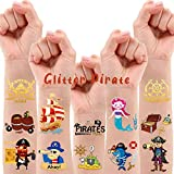 30 Metallic Glitter Styles Pirate Temporary Tattoos for Kids, Pirate Party Favors Birthday Decorations Supplies for Boys and Girls, Pirate Fake Tattoos Stickers Games Accessories (2 sheets)