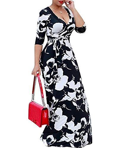 Olens Women 3/4 Long Sleeve Wrap V Neck Floral Printed Long Maxi Dress Plus Size Black, 5X