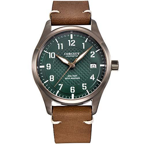 Herren-Armbanduhr mit Lederband, automatisch, japanisches Uhrwerk, Vintage-Armbanduhr mit Datum