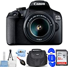 Canon EOS 2000D / Rebel T7 with EF-S 18-55mm III Lens Starter Bundle with 32GB SD, Memory Card Reader, Gadget Bag, Blower, Microfiber Cloth and Cleaning Kit [International Version]