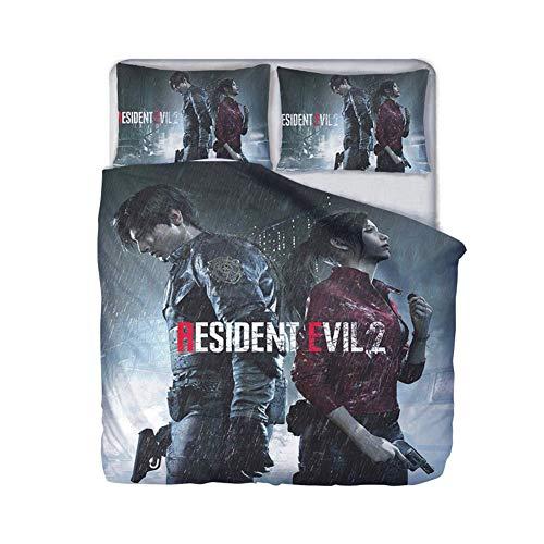 UNILIFE 3D-Bettwäsche 3-teiliges Resident Evil-Bettbezugset mit Kissenbezug Mikrofaser-Biohazard-Bettbezug mit Reißverschluss