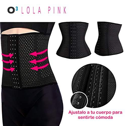 O³ Corset Reductor Adelgazante Mujer – Tallas S – XXXL | Fajas Reductoras Adelgazantes para Body Mujer Lola Pink– Fajas Colombianas Cómodas y Ligeras – Negro M/38