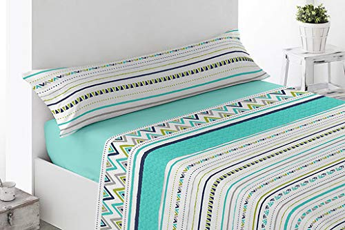 Energy Colors Textil Hogar - Fontar - Juego Sábanas Estampada Verano 3 Piezas Microfibra (Marth Aqua, 150_x_200_cm)