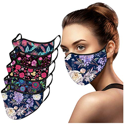 MmNote 5PCS Adult Reuse Dust Protective Washable Cute FlowersPrint Party Face Bandanas Windproof Anti-Spitting Face Scarf