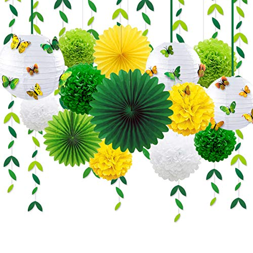 Yellow Green Party Decoration Kit Hanging Paper Fans Lanterns Flowers Pom Pom with 3D Butterfly Green Leaves Garland for Birthday Wedding Engagement Baby Shower Spring Summer Garden Tea Party Decor