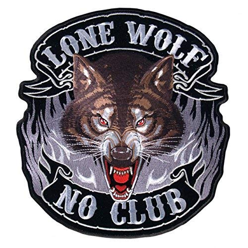Officially Licensed Originals Lone Wolf, NO Club, with Flames, Iron-On/Saw-On Rayon Full FACE Patch - 5' x 5'