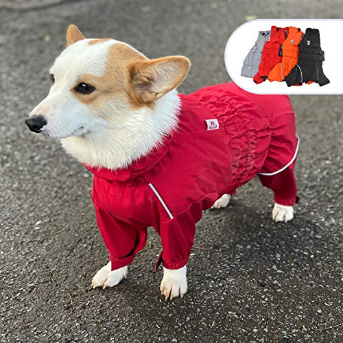 Lovelonglong Dogs Waterproof Jacket, Lightweight Waterproof Jacket Reflective Safety Dog Raincoat Windproof Snow-Proof Dog Vest for Corgis Dachshund Small Medium Large Dogs Red D-M