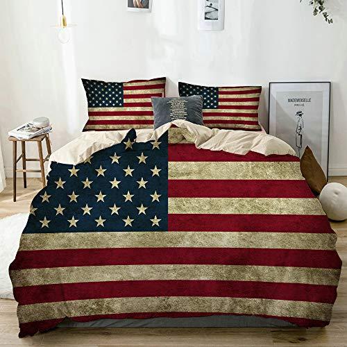 JOSENI Bettwäsche-Set,Mikrofaser,Beige,Amerikanische USA-Flaggen-Weinlese der Vereinigten Staaten,1 Bettbezug 240x260 + 2 Kopfkissenbezug
