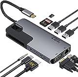 USB C ハブ ドッキングステーション 10-in1 多機能 HDMI 4K出力 二つ画面拡張可能/3*USB3.0ポート/PD充電(87W)/LANポート(1000Mbps)/VGAポート/3.5mmオーディオ/TF/SDカードリーダー usb-cハブ/MacBook Pro/ MacBook Air/ iPad Pro 2018 2020/ Dell XPS 15 13 / Surface Go / Huawei Matebook およびその他のType Cデバイス対応可能なタイプ C ハブ