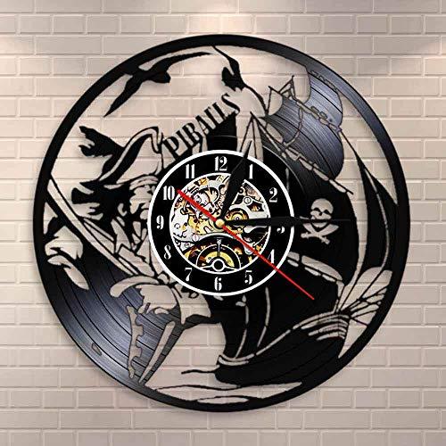 Regalos para Hombres Barco Pirata Disco de Vinilo Reloj de Pared Decoración para el hogar Barco de mar Barco de Vela Arte de la Pared Reloj Decorativo Reloj Regalo para Marinero Capitán