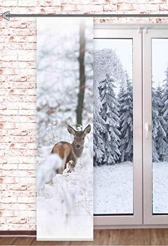 Schiebegardine REH im Schnee 60x245cm Wintergardine Raumteiler Schaufensterdeko Winter