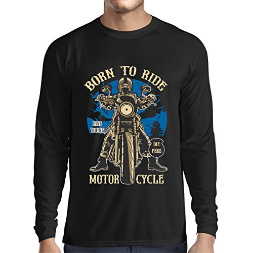 Camiseta de Manga Larga para Hombre Live Young - Die Free - Nacido para Montar en Moto, Ideas de Regalos para Ciclistas, Lemas inspiradores (XX-Large Negro Multicolor)