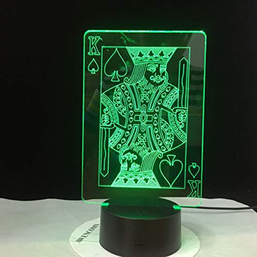 Creative 3D LED USB Lamp Magician Decoration TEXAS HOLD EM Dice Poker Spades Playing Card 7 Colors Changing RC Night Light