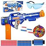 Colmanda Pistola Juguete Eléctrica, Grande Pistola Automática para Nerf con 100 Dardos Espuma+Gafas de Protección+Objetivo de Tiro, Automático Pistola Juego Aire Libre Regalo para niños, Adolescentes