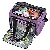 Sac à tricoter portable pour aiguilles à tricoter pour fils, crochets, aiguilles à tricoter et autres petits accessoires, sac de rangement de fil de voyage, 38 x 25 x 26cm, violet