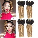 XCCOCO 10A Short Ombre Loose Wave Hair 4 Bundles 10 10 10 10inch (50g/bundle) Ombre Blonde Peruvian Virgin Remy Human Hair Short Soft Bob Curly Weave(1b/27#)