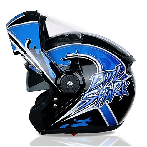 EDW Moto Modular Helm Flip Front Up Cruiser Moped Motorrad Tourenhelme Roller-Helm Knight Hard Hat Doppelvisier für Mann Frau (M, L, XL, XXL),XXL(60~61cm)