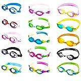 Schwimmbrille für Kinder inkl. Transportbox + Anti-Beschlag-Schutz + UV Schutz + verstellbares Silikonband | bis ca. 12Jahre / perfekte Passform | Chlorbrille Kinderschwimmbrille Flippo | pink/grün