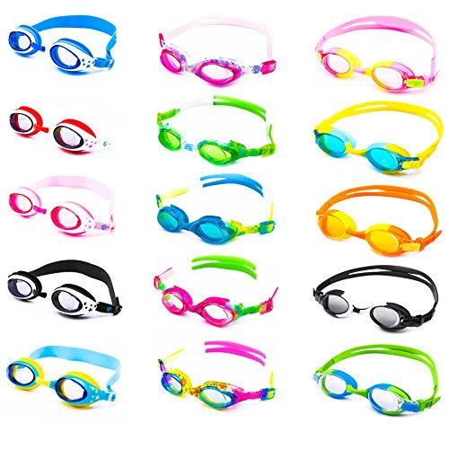 Schwimmbrille für Kinder inkl. Transportbox + Anti-Beschlag-Schutz + UV Schutz + verstellbares Silikonband | bis ca. 12Jahre / perfekte Passform | Chlorbrille Kinderschwimmbrille | grün/blau