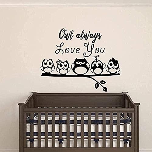 Pegatinas de pared de PVC extraíbles pegatinas de pared de búho siempre te amo bebé habitación de los niños habitación de los niños lámpara de pared del dormitorio 72X57cm
