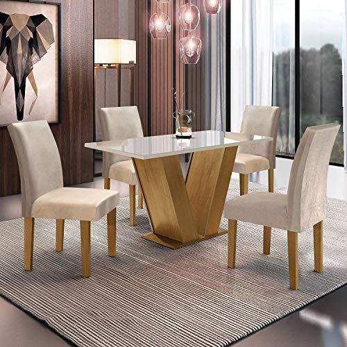 Conjunto Sala de Jantar Mesa Tampo de Vidro 4 Cadeiras Espanha Siena Móveis Ypê