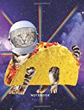 Notebook: Astronaut Taco Cat In Space With Rainbow Lasers - 120 Pages Lined - (Funny Cat Gift Composition Book Journal Diary) (8.5 x 11 Large)