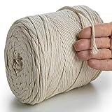 MeriWoolArt Natürliches Makramee-Seil - 250 m superweiche Makramee Schnur mit 4 mm Einfachdrehung - Neue Qualität aus recycelter Baumwolle und Viskose (Natürliche Farbe)
