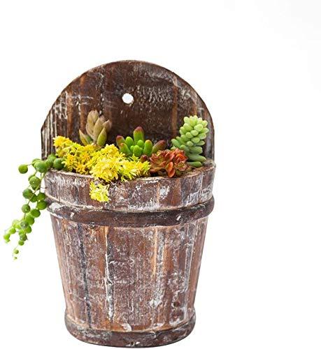Cubo de madera retro para colgar macetas de jardín vintage con maceta para jardín, balcón, estudio (no incluye...