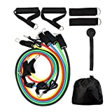 Vellio Shine Resistance Band Set with Door Anchor Ankle Strap Resistance Band Carrying Case (Gourd hook)