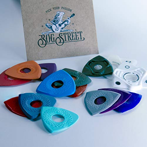 Bog Street SAMPLER PACK, 15 Picks Total, Ergonomic Guitar Picks Variety Pack Made in the USA