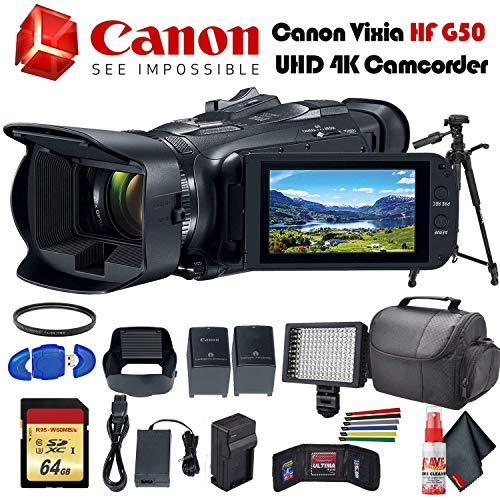 Canon Vixia HF G50 UHD 4K Camcorder (Black) (3667C002) with Extra Battery, UV Filter, Tripod, Padded Case, LED Light, 64GB Memory Card and More Starter Bundle