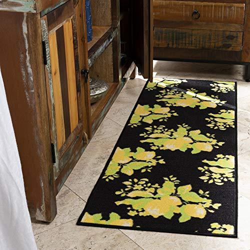 "Ottomanson Lemon Collection Contemporary Black Lemons Design Runner Rug with (Non-Slip) Kitchen and Bathroom Mat, Black, 20"" x 59"""