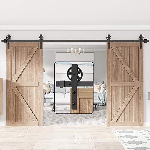 of sliding doors WINSOON 12FT Wood Double Sliding Barn Door Hardware Basic Black Big Spoke Wheel Roller Kit,5-18FT for Choose