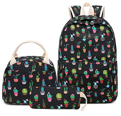BLUBOON Schulrucksack-Set aus Segeltuch für Teenager und Mädchen, 38,1 cm (15 Zoll) Laptop-Rucksack, Kinder-Lunch-Tasche, Clutch-Geldbörse