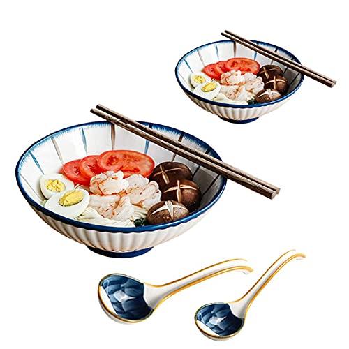 N / E Juego de tazón de Sopa Grande de Porcelana para Ramen, tazón de cerámica japonés, tazón de Fideos Vintage, tazones de Porcelana para Cereales, Ensalada, Pasta, Sopa, con Palillos y Cuchara