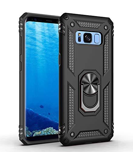 BestST Funda Samsung Galaxy S8 Armor Carcasa con 360 Anillo iman Soporte Hard PC y Silicona TPU Bumper antigolpes Fundas Carcasas Case para movil Samsung S8, Negro