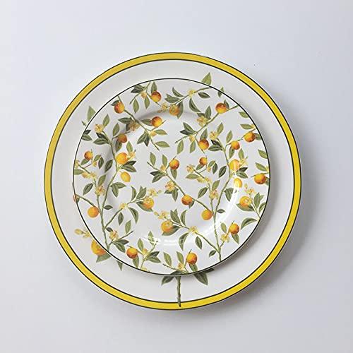 PPuujia Juego de platos y platos esmaltados de 6/8 pulgadas de cerámica de loquat amarillo y pájaros (color: rojo)