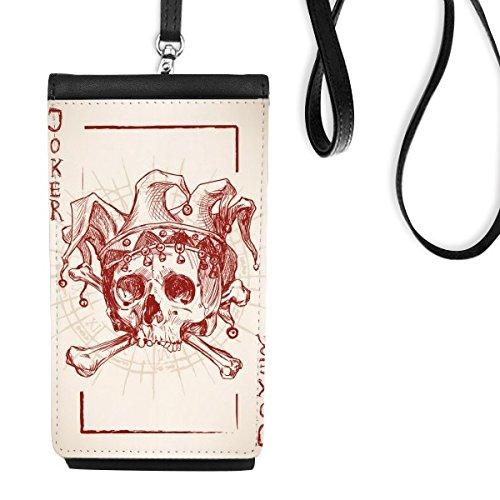 DIYthinker Joker Rood Mysterie Kroon Menselijk Skeleton Poker Kaart Illustratie Patroon Kunstleer Smartphone Hangende portemonnee Zwart Telefoon Portemonnee