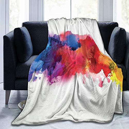 KOSALAER Bedding Manta,Manchas Vibrantes de Pintura de Acuarela salpica Pinceladas Que gotean Arte líquido,Mantas cálidas de Sala de Estar/Dormitorio Ultra Suaves para Todas Las Estaciones