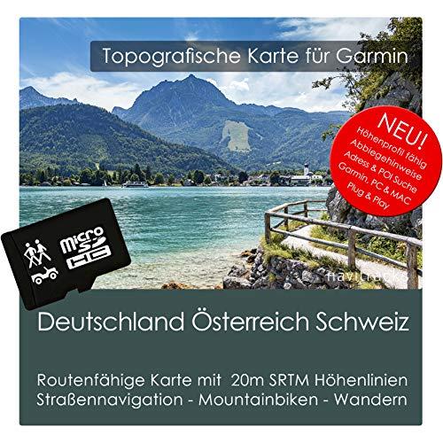 Deutschland Österreich Schweiz (Dach) TOPO Karte Garmin - 8GB microSD - Navigationsgeräte & PC