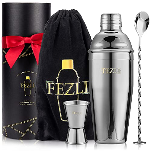 Fezli 5 Piece Large 700ml Stainless Steel Cocktail Shaker Set with Strainer, Jigger and Mixing Spoon, Cocktail Making & Bartending Set with Bar Accessories, Christmas Gifts Cocktail Mixer (Silver)
