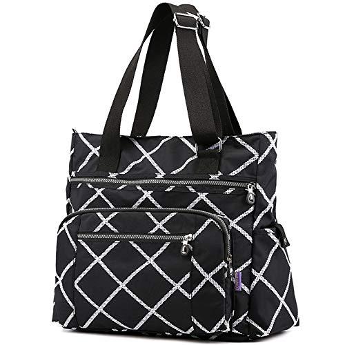 Multi Pocket Nylon Totes Handbag Large Shoulder Bag Travel Purse Bags For Women (Black)