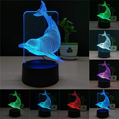 TTqp 3D LED Desk Table Dolphin Night Light Lamp 7 Color Touch Lamp Kiddie Kids Children Family Holiday Gift Home Office Childrenroom Theme Decoration